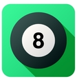 Sport icon with billiard ball in flat style vector