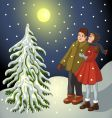 Children in snowy landscape vector