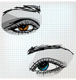 Female eye sketch vector