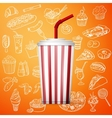 Soda fountain drink and hand draw fast food icon vector