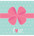 Big pink gift bow and ribbon love card vector