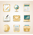 Business icons of gold vector
