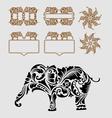 Elephant floral ornament decoration vector