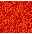Abstract seamless pattern with isometric icons vector