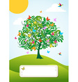 Abstract spring time tree greeting card vector