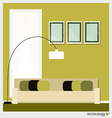 Three empty frames on a wall and decorative wall vector