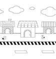Linear cute homes on street1 01 vector