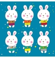 Funny bunnies on a white background characters vector