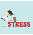Business man use hammer try to break stress word vector