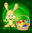 Easter bunny with a basket full of colorful eggs vector