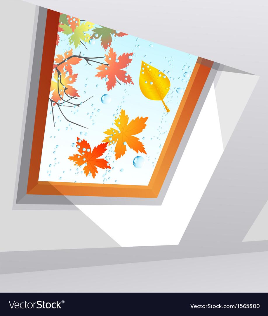 Autumnal wet window vector | Price: 1 Credit (USD $1)