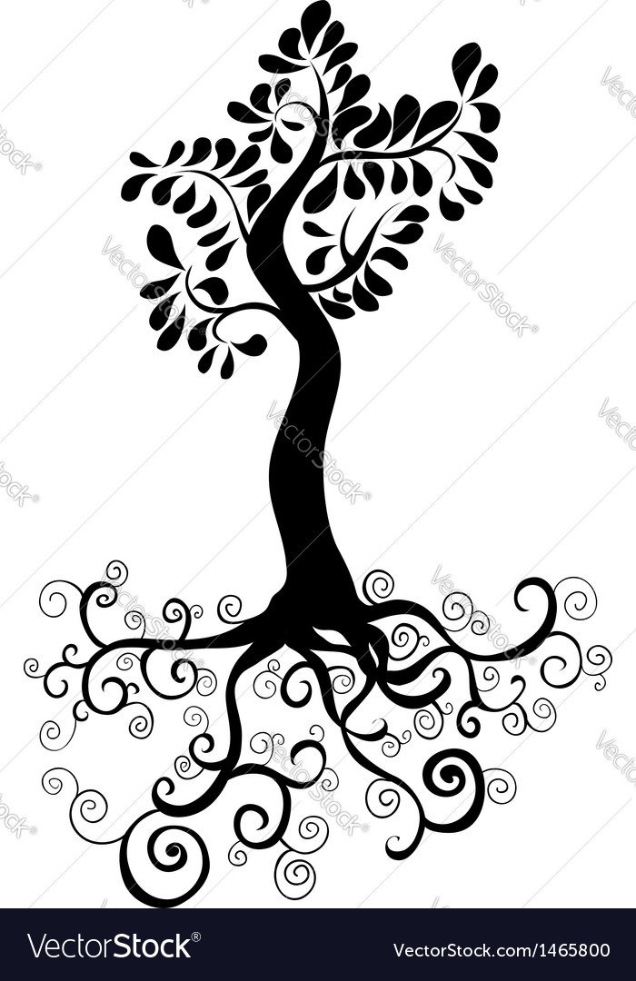 Black tree silhouette vector | Price: 1 Credit (USD $1)