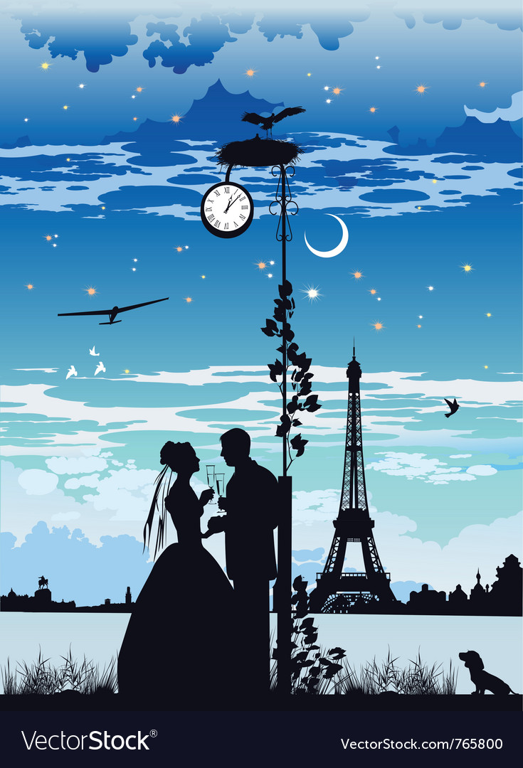 Bride and groom on the backdrop of the castle vector | Price: 1 Credit (USD $1)