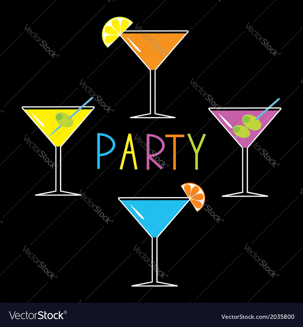 Colorful martini set on black cocktail party vector | Price: 1 Credit (USD $1)