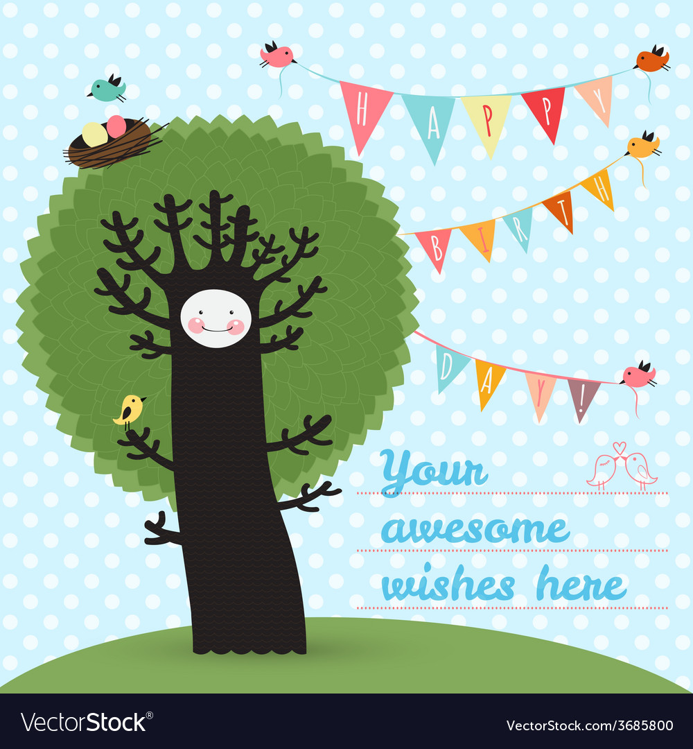 Cute happy birthday card with tree and birds vector | Price: 1 Credit (USD $1)
