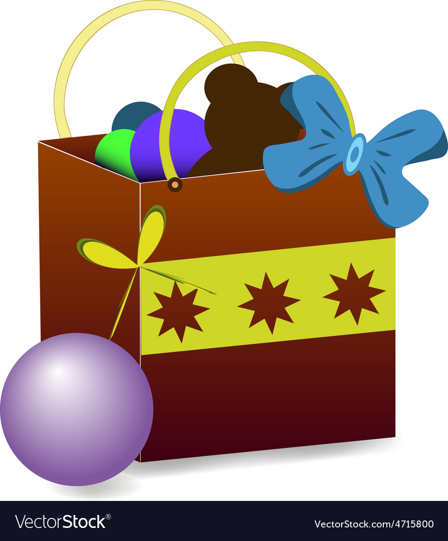 Gift bag with toys vector | Price: 1 Credit (USD $1)
