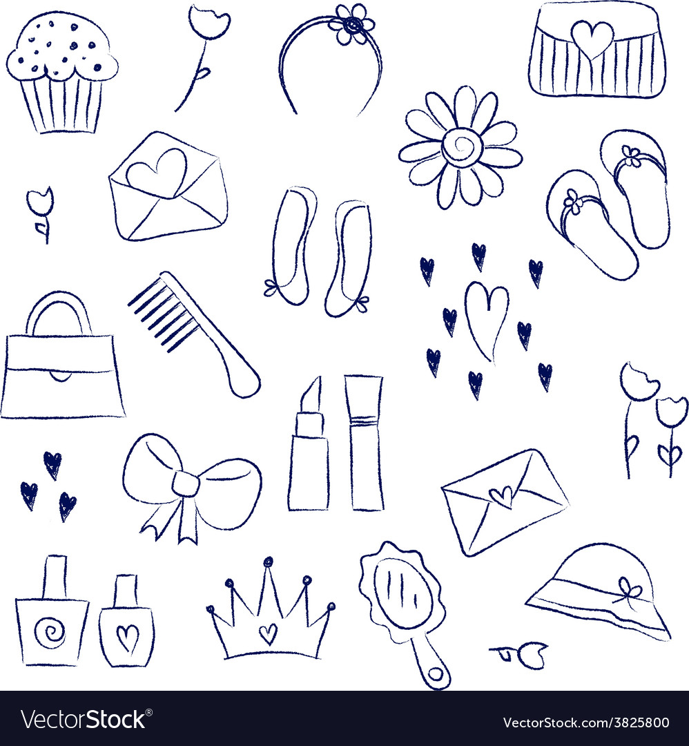 Girl accessories chalky doodles vector | Price: 1 Credit (USD $1)