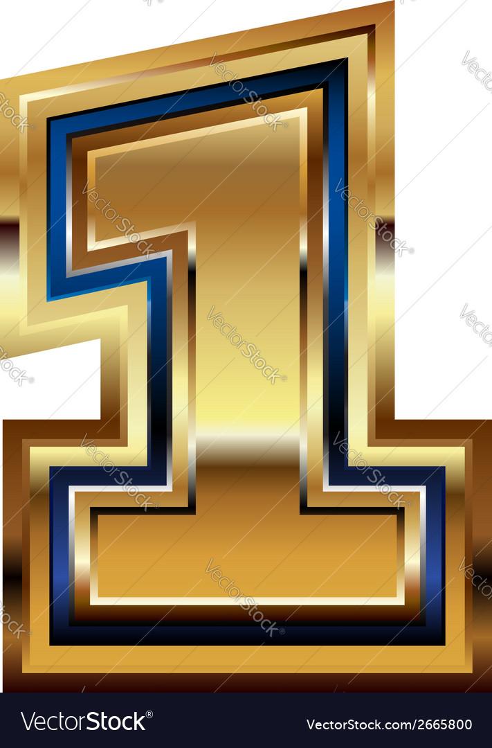 Golden number 1 vector | Price: 1 Credit (USD $1)