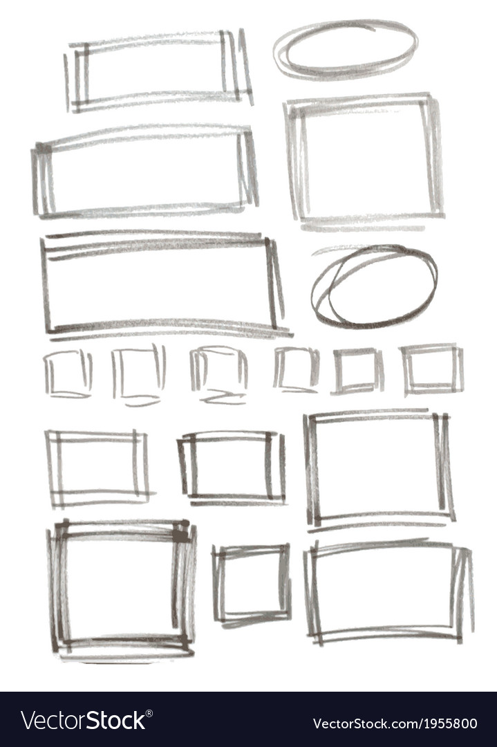 Hand drawn felp-tip pen frames vector | Price: 1 Credit (USD $1)