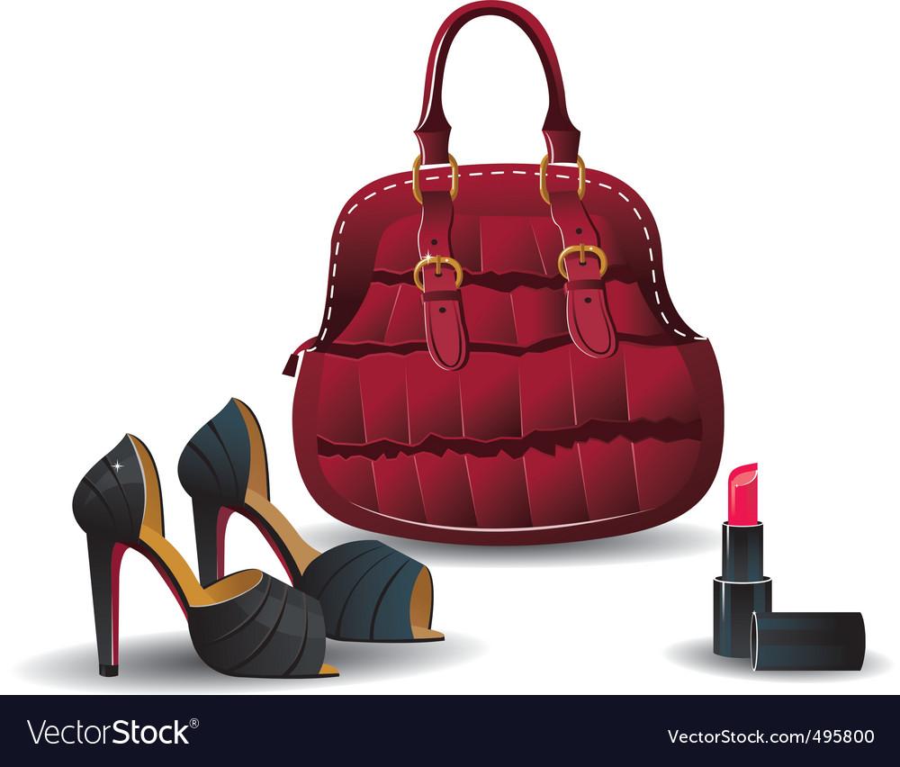 Handbag, shoes and lipstick vector | Price: 1 Credit (USD $1)