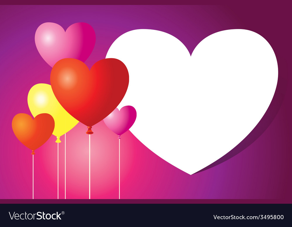 Heart shape balloons background and frame vector | Price: 1 Credit (USD $1)