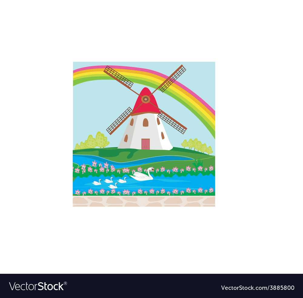 Landscape with windmill vector | Price: 1 Credit (USD $1)