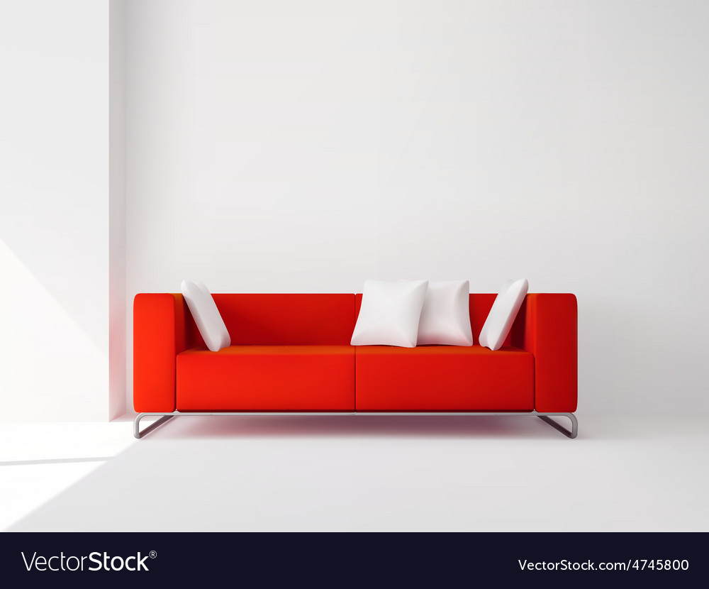 Red sofa with white pillows vector | Price: 1 Credit (USD $1)