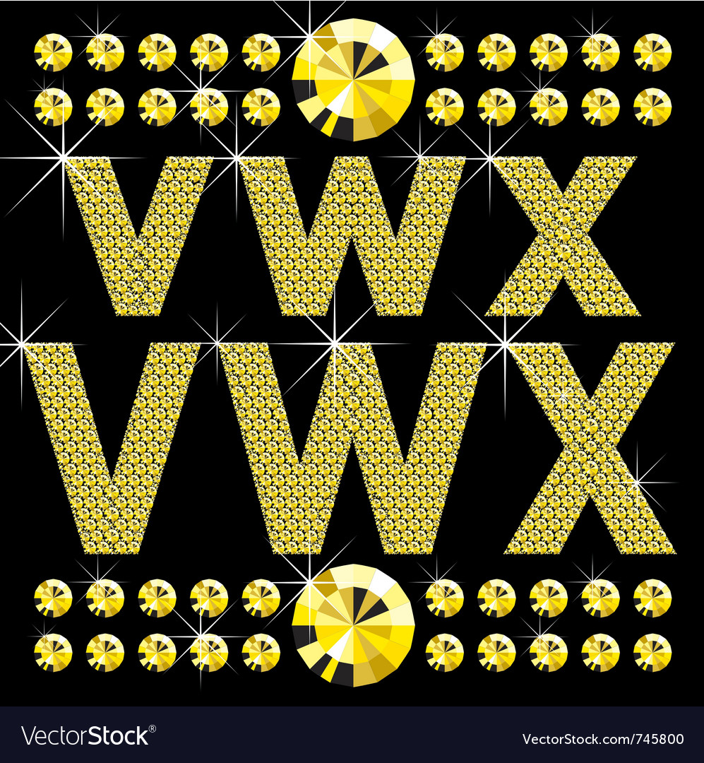 Set of diamond letters vector | Price: 1 Credit (USD $1)