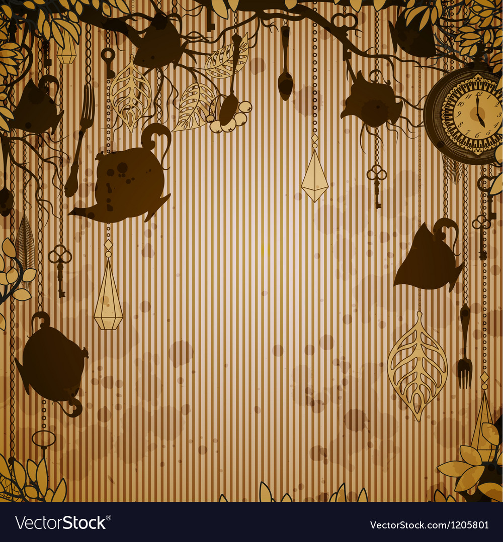 Abstract bronze background with tea party theme vector | Price: 1 Credit (USD $1)