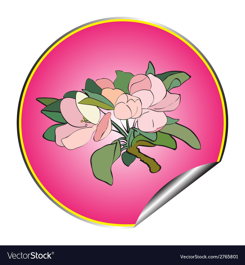 Apple flower sticker purple vector | Price: 1 Credit (USD $1)