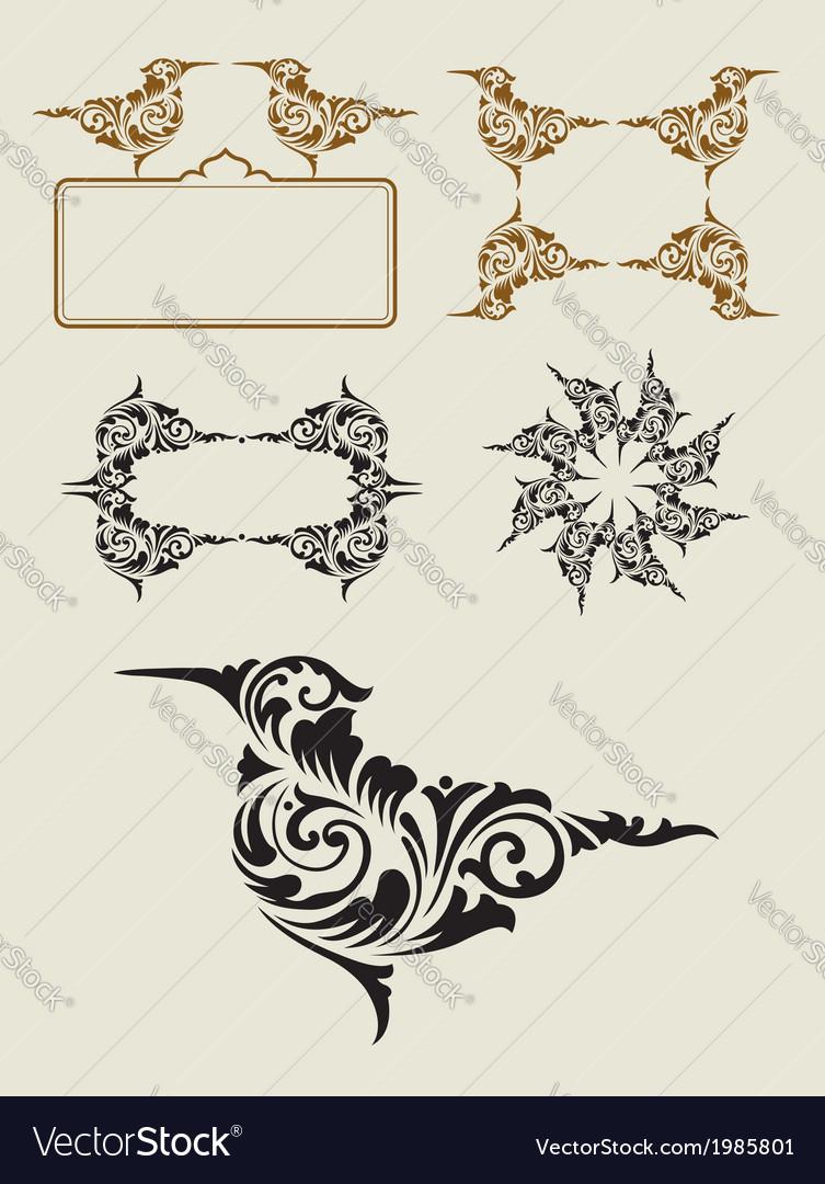 Bird floral ornament decoration vector   Price: 1 Credit (USD $1)
