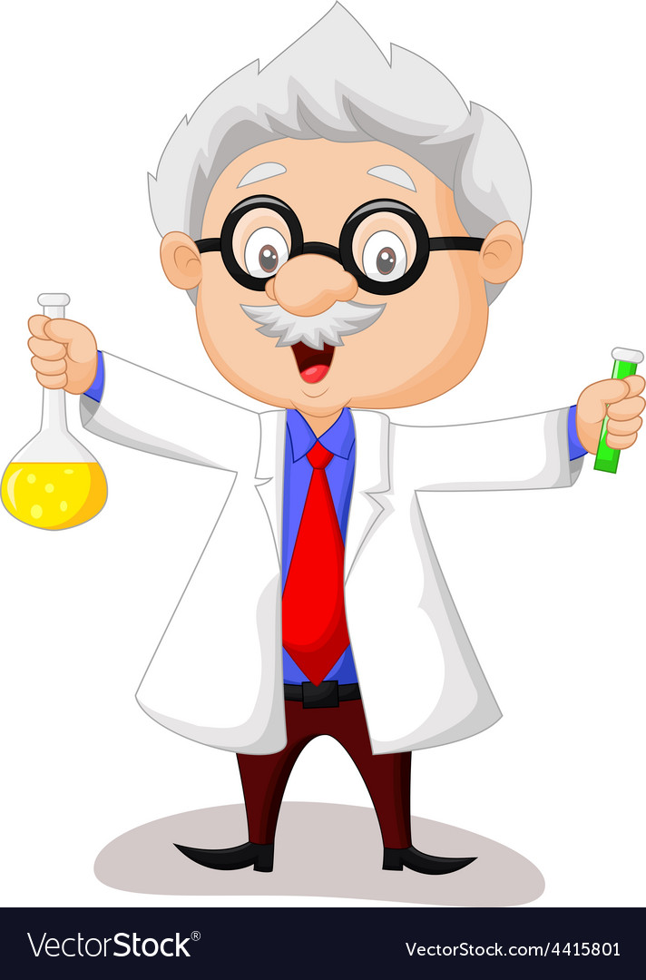 Cartoon scientist holding chemical flask vector | Price: 1 Credit (USD $1)