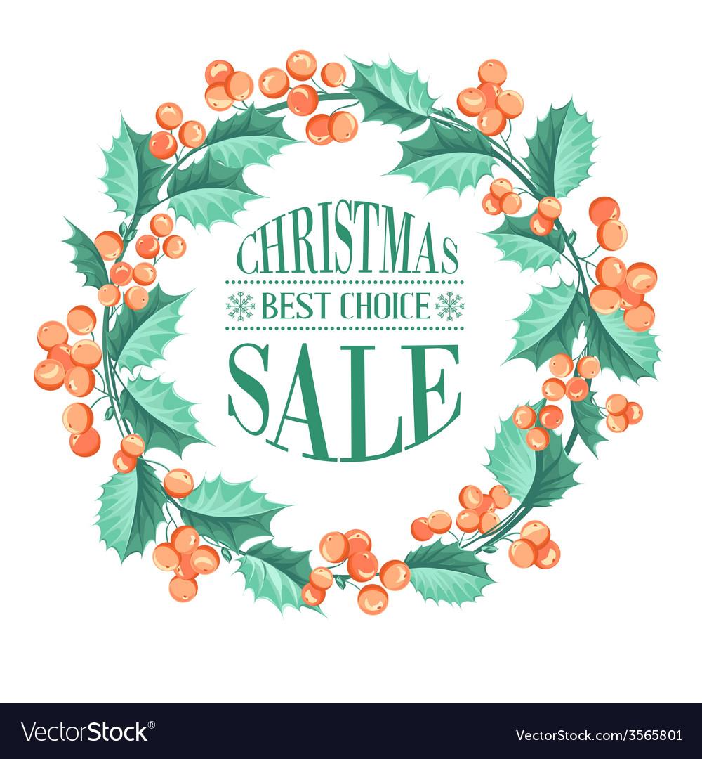 Christmas mistletoe branch vector | Price: 1 Credit (USD $1)
