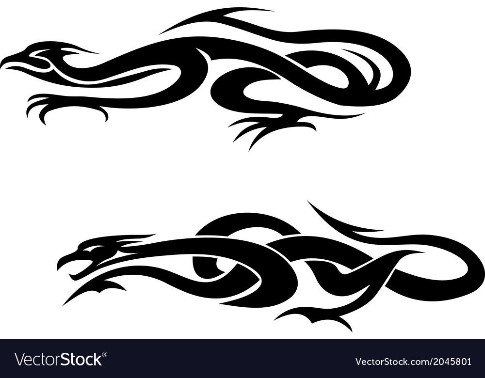 Dragons tattoos vector | Price: 1 Credit (USD $1)