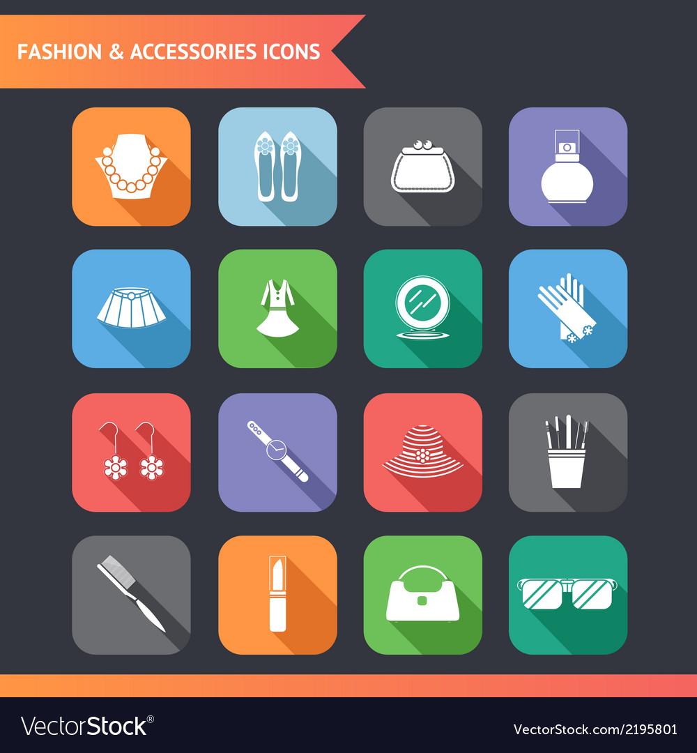 Flat fashion symbols accessories icons set vector | Price: 1 Credit (USD $1)