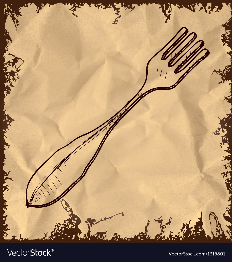 Fork icon isolated on vintage background vector | Price: 1 Credit (USD $1)