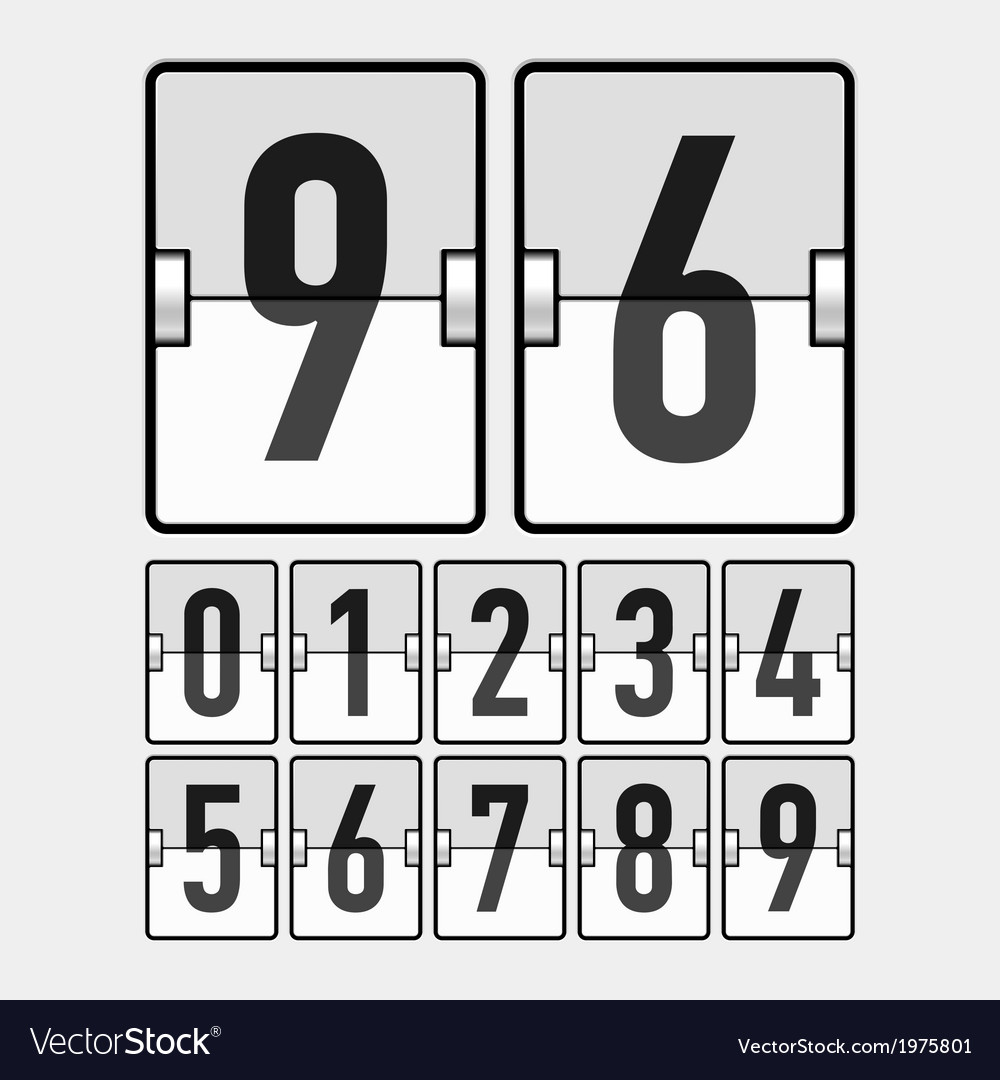 Mechanical timetable scoreboard display numbers vector | Price: 1 Credit (USD $1)
