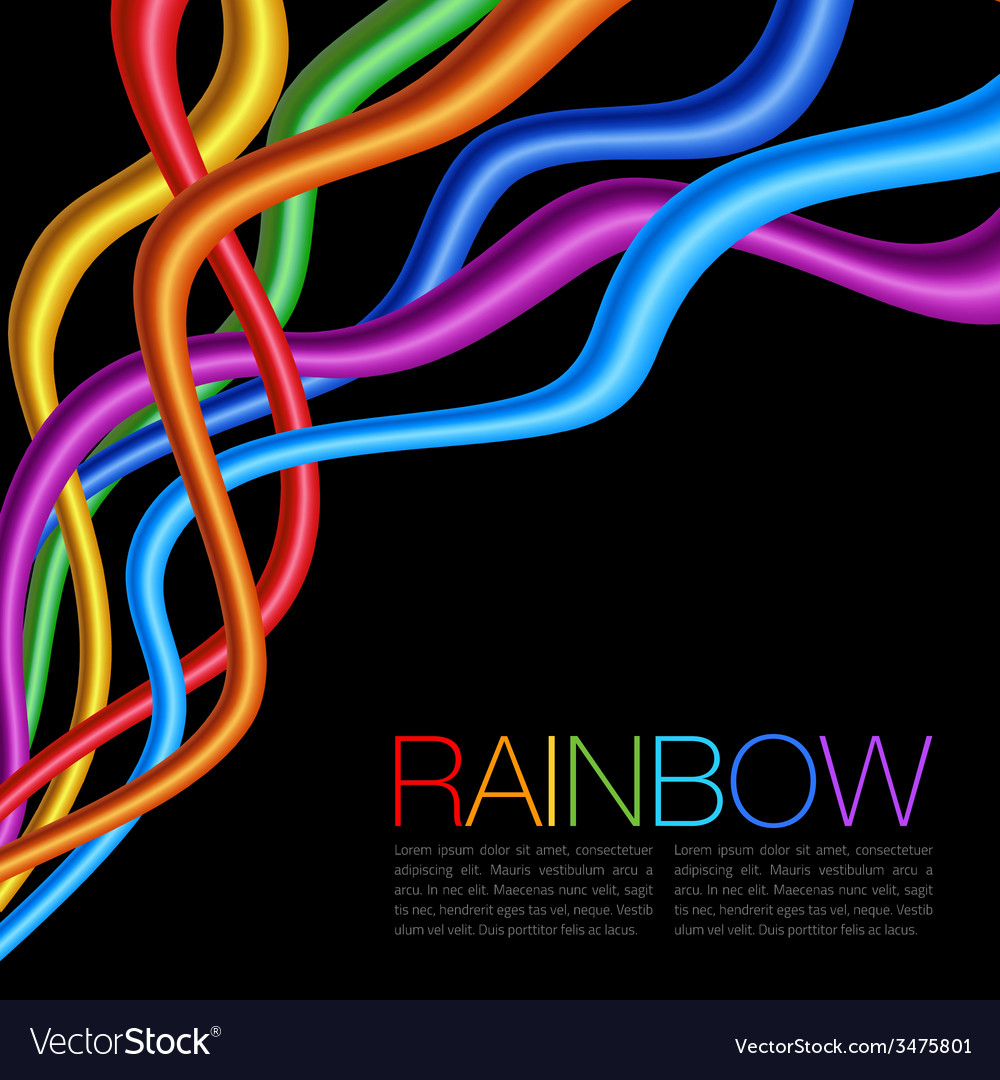 Rainbow twisted bright vibrant wares on black back vector | Price: 1 Credit (USD $1)