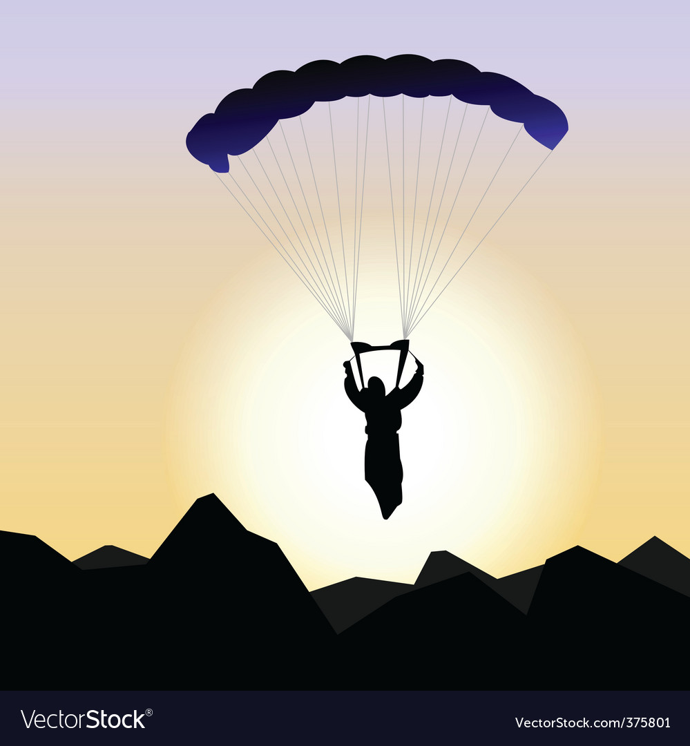 Realistic illustration parachutist of sunrise vector | Price: 1 Credit (USD $1)