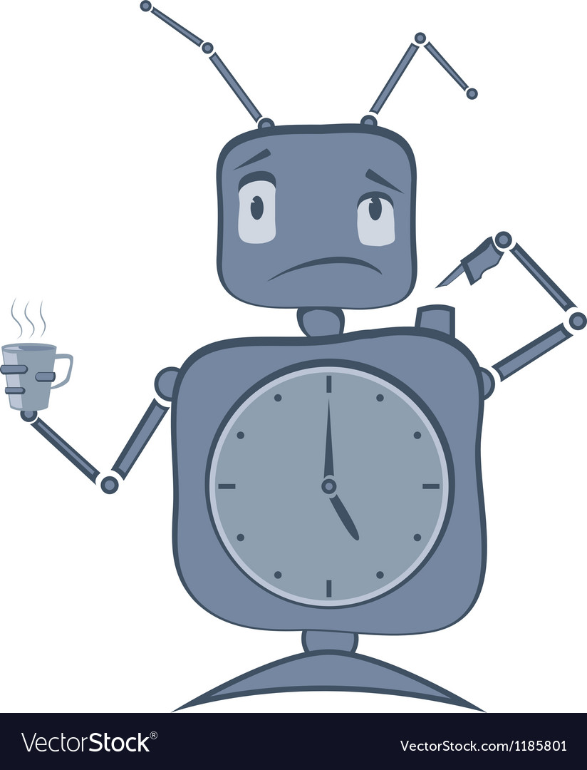 Robot clock vector | Price: 1 Credit (USD $1)