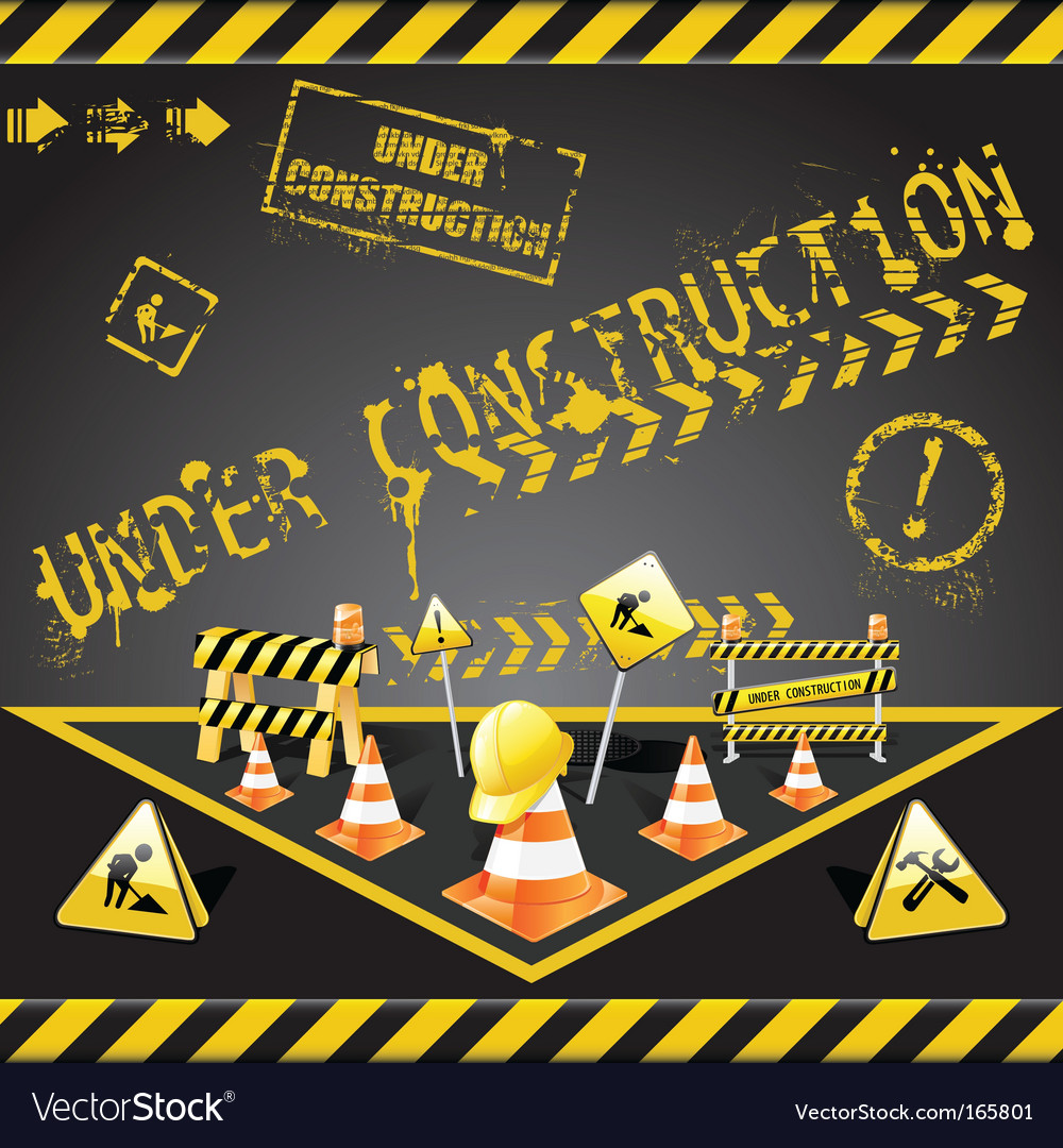 Under construction warning vector | Price: 3 Credit (USD $3)