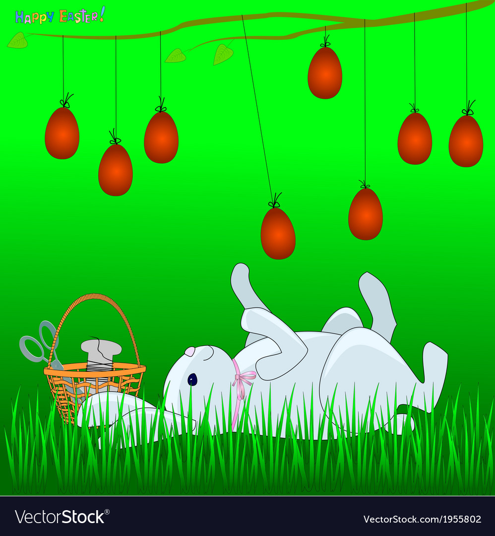 Bunny plays with easter eggs vector | Price: 1 Credit (USD $1)