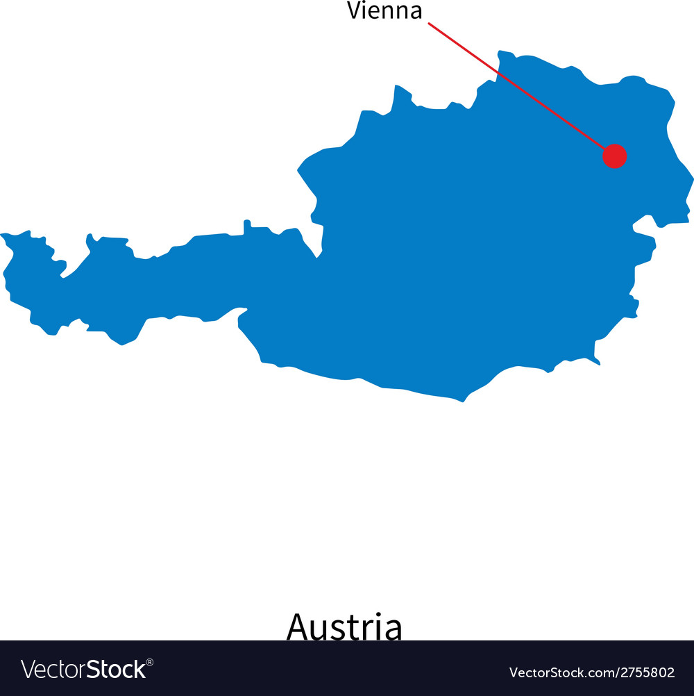 Detailed map of austria and capital city vienna vector | Price: 1 Credit (USD $1)