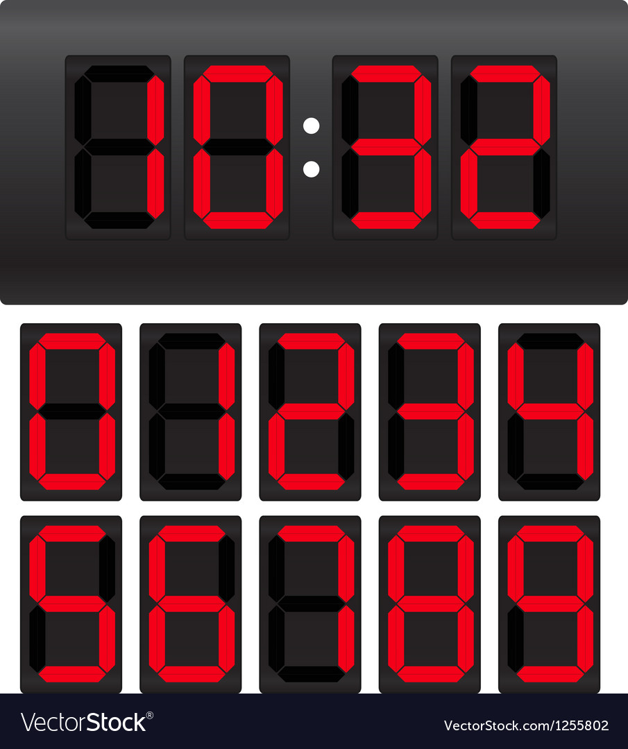 Digital clock template vector | Price: 1 Credit (USD $1)
