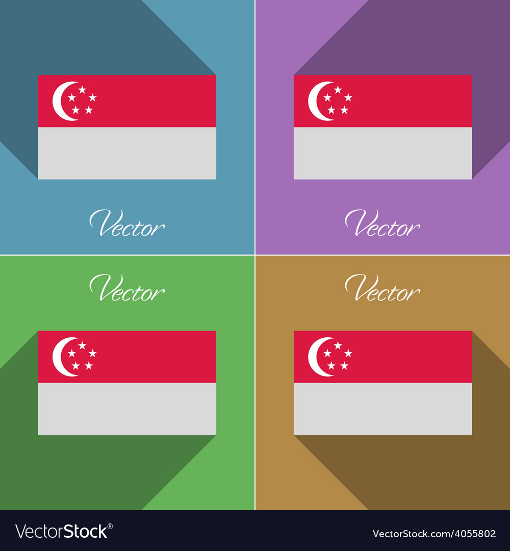 Flags singapore set of colors flat design and long vector | Price: 1 Credit (USD $1)