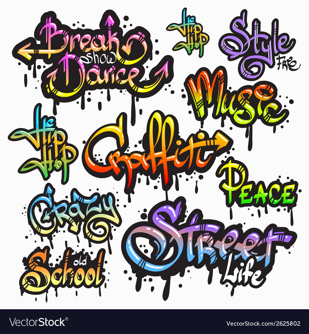 Graffiti word set vector | Price: 1 Credit (USD $1)