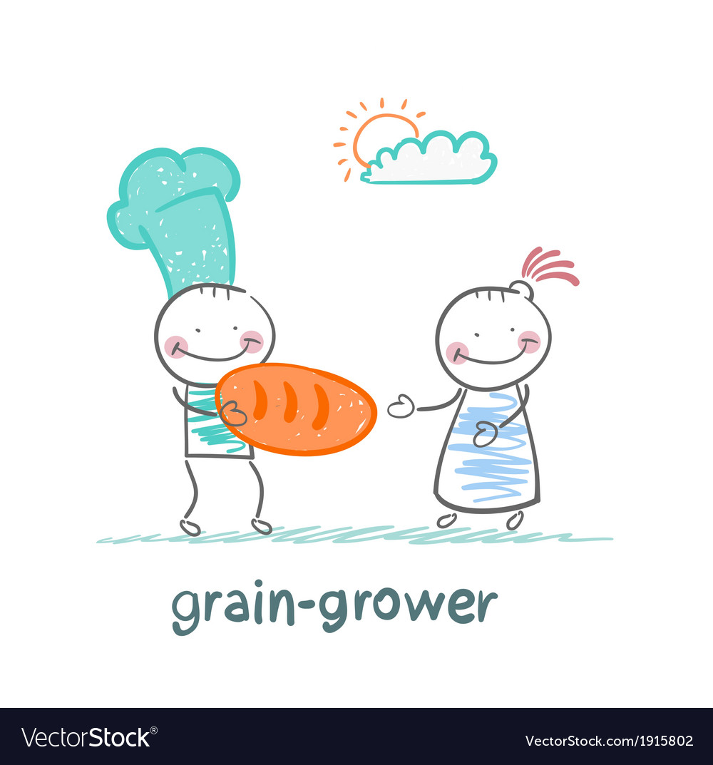 Grain grower keeps the bread of flour vector | Price: 1 Credit (USD $1)