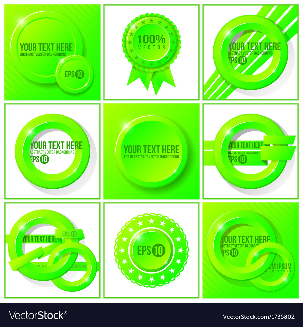 Green abstract set of backgrounds for your design vector | Price: 1 Credit (USD $1)