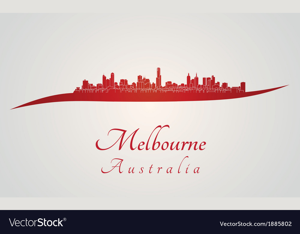 Melbourne skyline in red vector | Price: 1 Credit (USD $1)