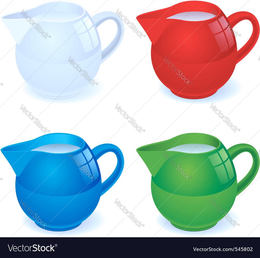 Milk jug set vector | Price: 1 Credit (USD $1)